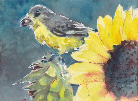 Goldfinch Dinner Watercolor Painting